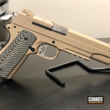 1911 Pistol Cerakoted Using Desert Sand
