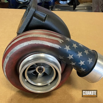 Unites States Flag Themed Turbo Housing Cerakoted Using Armor Black, Snow White And Sky Blue