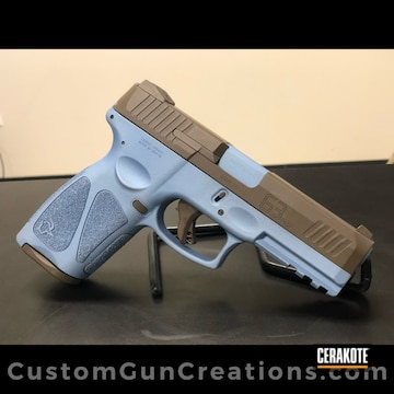 Two Tone Taurus G3 Pistol Cerakoted Using Chocolate Brown And Polar Blue