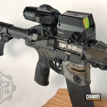 Custom Camo Ar Cerakoted Using Armor Black, Mil Spec Green And Burnt Bronze