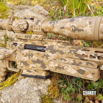 Custom Camo Rifle Cerakoted Using Desert Sand, Magpul® O.d. Green And Federal Brown