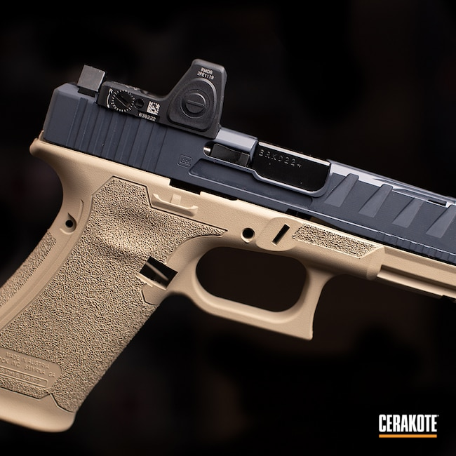 Cerakoted: 9mm,Glock 45,Gray,Tan,Two Tone,MCMILLAN® TAN H-203,Glock,Handguns,Combat Grey H-130