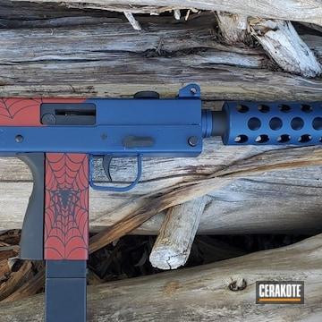 Cobray M-11 Pistol Cerakoted Using Kel-tec® Navy Blue, Crimson And Graphite Black