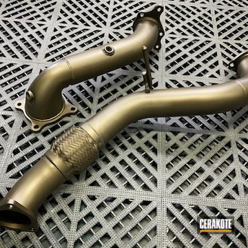 Exhaust Pipes Cerakoted Using Burnt Bronze