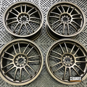 Custom Aluminum Wheels Cerakoted Using Midnight Bronze