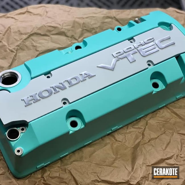 Cerakoted: Robin's Egg Blue H-175,Valve Cover,Satin Aluminum H-151,Automotive,Honda