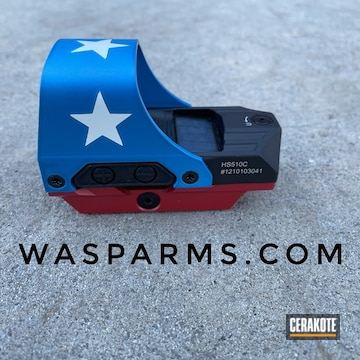 American Flag Themed Red Dot Scope Cerakoted Using Bright White, Sky Blue And Ruby Red