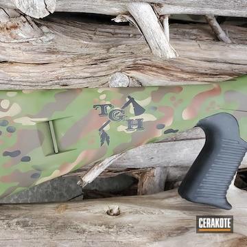 Custom Camo Benelli M4 Shotgun Cerakoted Using Multicam® Dark Brown, Desert Sand And Multicam® Pale Green