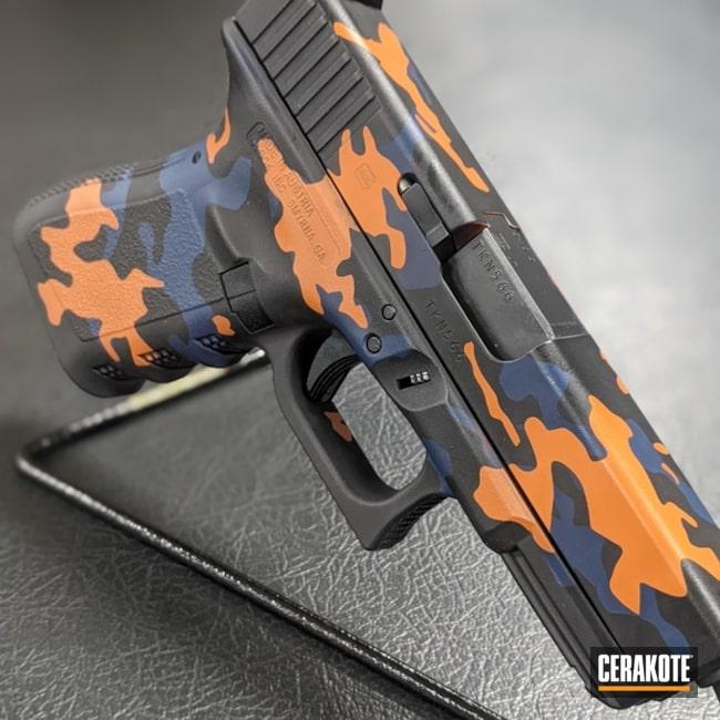 Custom Glock 17 Pistol Cerakoted Using Kel-tec® Navy Blue, Terra Cotta And Graphite Black