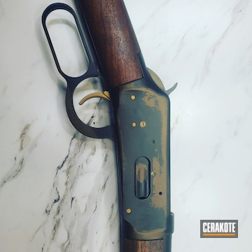 1894 Winchester Lever Action Rifle Cerakoted Using Midnight Bronze, Graphite Black And Gold
