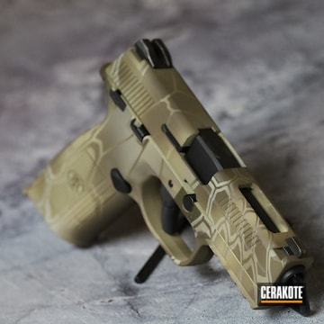 Kryptek Camo Fns-40 Pistol Cerakoted Using Patriot Brown, Benelli® Sand And Magpul® Flat Dark Earth