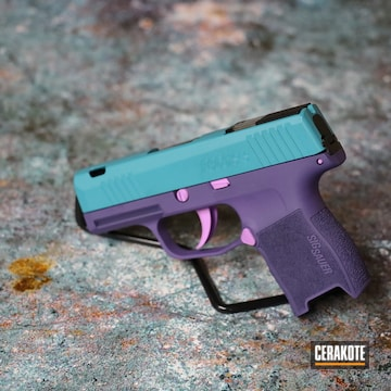 Sig Sauer P365 Pistol Cerakoted Using Aztec Teal, Purplexed And Bright Purple