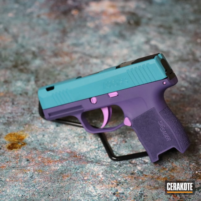 Sig Sauer P365 Pistol Cerakoted Using Aztec Teal, Purplexed And Bright Purple