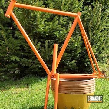 Bicycle Frame Cerakoted Using Hunter Orange