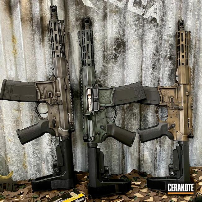 Cerakoted: S.H.O.T,AR Pistol,Battleworn,Custom,Graphite Black H-146,Distressed,Burnt Bronze H-148,Gun Metal Grey H-219,CHARCOAL GREEN H-338,Seekins,.300 Blackout