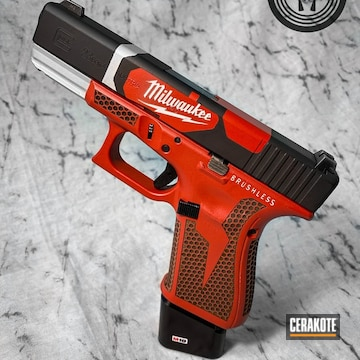 Milwaukee Tools Themed Glock 23 Cerakoted Using Satin Aluminum, Armor Black And Usmc Red