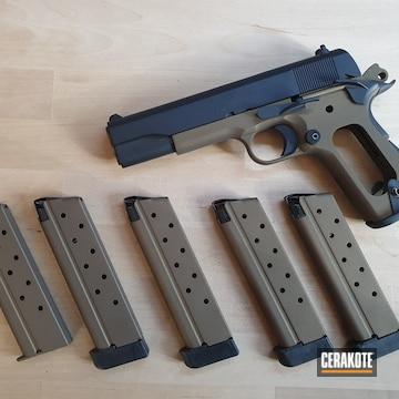 Colt 1911 Cerakoted Using Graphite Black And Burnt Bronze