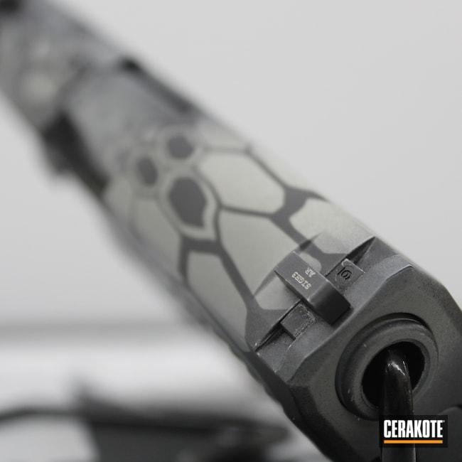 Cerakoted: S.H.O.T,Hidden White H-242,9mm,Kryptek,White,Graphite Black H-146,P320,Black,Pistol,Sig Sauer,Bull Shark Grey H-214,Grey