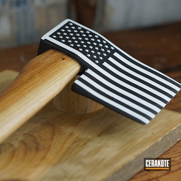 American Flag Themed Axe Cerakoted Using Stormtrooper White And Graphite Black