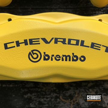 Brembo Brake Calipers Cerakoted Using Corvette Yellow And Graphite Black