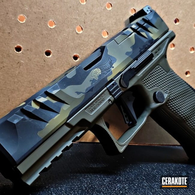 Custom Camo Walther Ppq Pistol Cerakoted Using Multicam® Dark Grey, Magpul® O.d. Green And Graphite Black