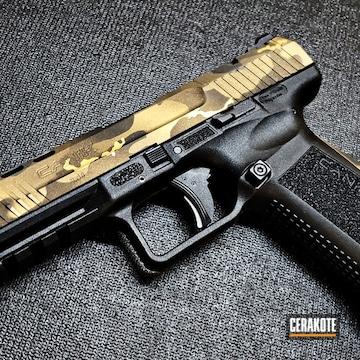 Custom Camo Canik Pistol Cerakoted Using Graphite Black, Burnt Bronze And Gold