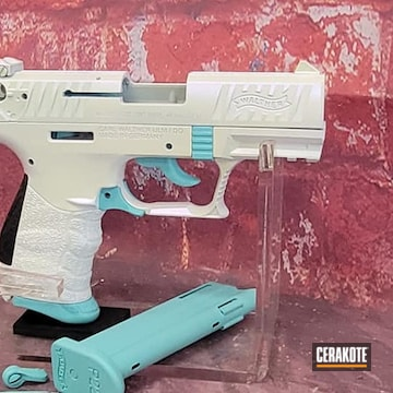 Walther Pistol Cerakoted Using Bright White And Robin's Egg Blue