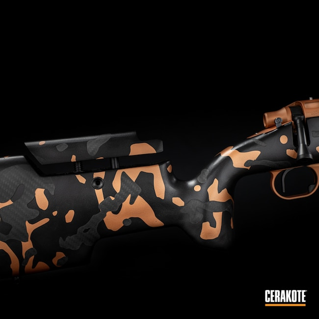 Cerakoted: S.H.O.T,Bolt Action Rifle,COPPER H-347,MultiCam,Custom,Graphite Black H-146