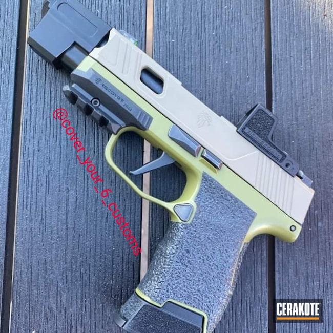 Cerakoted: S.H.O.T,9mm,Sig P365,Pistol,Sig Sauer,O.D. Green H-236,MAGPUL® O.D. GREEN H-232