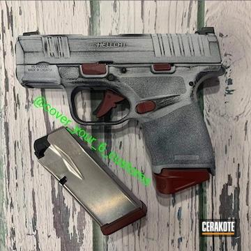 Battleworn Hellcat Pistol Cerakoted Using Bright White, Graphite Black And Ruby Red