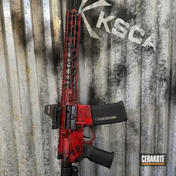 Battleworn Ar Cerakoted Using Graphite Black And Ruby Red