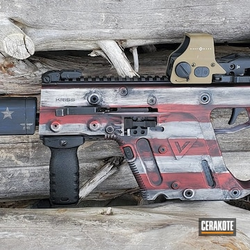 Battleworn American Flag Kriss Vector Cerakoted Using Kel-tec® Navy Blue, Usmc Red And Bright White