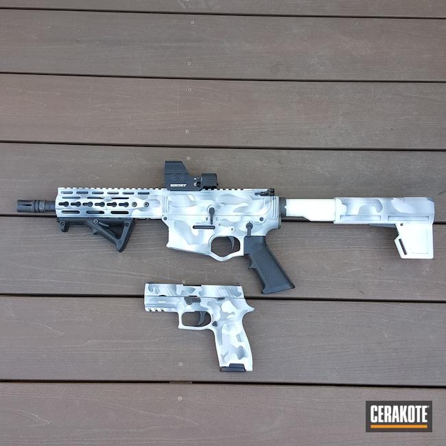 Cerakoted: S.H.O.T,Snow White H-136,Graphite Black H-146,OMNI Hybrid,P320,American Tactical,Sig Sauer,.300 Blackout,9mm pistol,Snow Camo