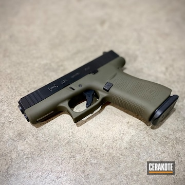 Glock 43x Pistol Cerakoted Using O.d. Green And Blackout