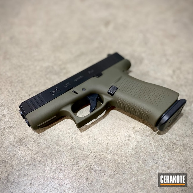Cerakoted: S.H.O.T,Glock 43X,Conceal Carry,BLACKOUT E-100,Two Tone,Pistol,O.D. Green H-236,Firearms,Daily Carry,43x,Contrast,Glock,Carry Gun