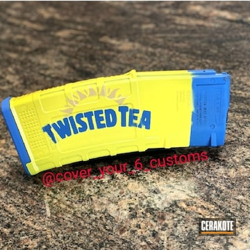 Twisted Tea Themed Mag Cerakoted Using Corvette Yellow, Nra Blue And Gold
