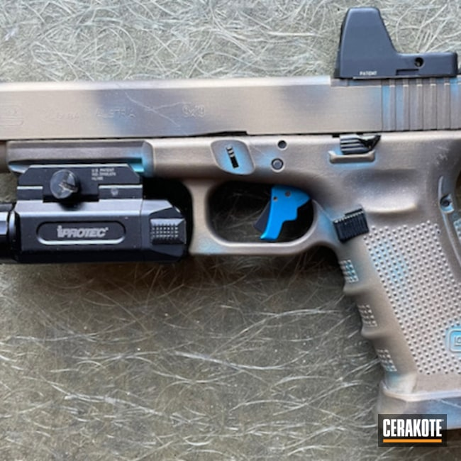 Copper Patina Glock 34 Cerakoted Using Aztec Teal And Burnt Bronze