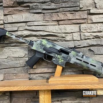 Kryptek Camo Ar Build Cerakoted Using Zombie Green, Graphite Black And Bull Shark Grey