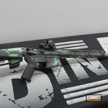 Kryptek Camo Ar Cerakoted Using Sniper Grey, Parakeet Green And Bull Shark Grey