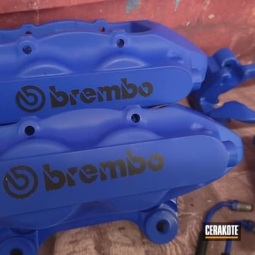 Brembo Calipers And Components Cerakoted Using Graphite Black And Blue Flame