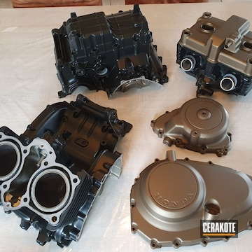 Honda Motorcycle Engine Parts Cerakoted Using Burnt Bronze And Cerakote Glacier Black