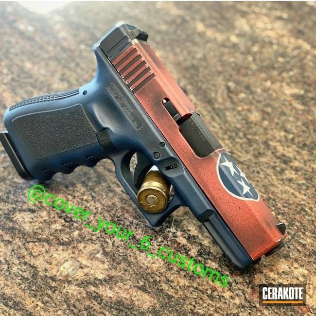 Cerakoted: S.H.O.T,Hidden White H-242,Glock 19,Tnstateflag,Tn,Crimson H-221,Pistol,KEL-TEC® NAVY BLUE H-127,Glock,Flag Theme