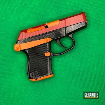 Kel-tec P-3at Pistol Cerakoted Using Hunter Orange, Gloss Black And Ruby Red