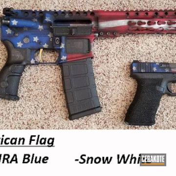 Battleworn American Flag Ar And Glock Cerakoted Using Armor Black, Snow White And Nra Blue