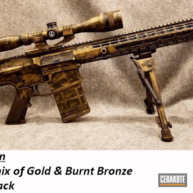 Cerakoted: S.H.O.T,Burnt Bronze H-148,Armor Black H-190,Gold H-122,AR-15