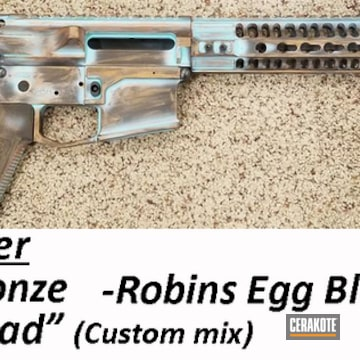 Copper Patina Themed Ar Cerakoted Using Barrett® Bronze And Robin's Egg Blue