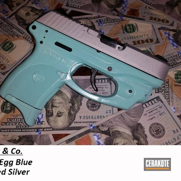Ruger Pistol Cerakoted Using Crushed Silver And Robin's Egg Blue