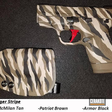 Zebra Striped Pattern Smith & Wesson M&p Shield Pistol Cerakoted Using Armor Black, Patriot Brown And Mcmillan® Tan