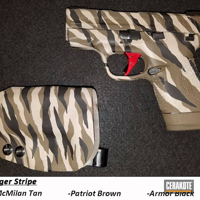 Cerakoted: S.H.O.T,Smith & Wesson,MCMILLAN® TAN H-203,Patriot Brown H-226,Armor Black H-190,Smith & Wesson M&P Shield