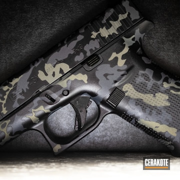 Custom Camo Glock 43x Pistol  Cerakoted Using Glock® Grey, Midnight Blue And Northern Lights